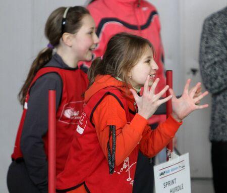 unidentified children on IAAF Kid's Athletics competition on February 10, 2012 in Donetsk, Ukraine  Stock Photo - 12662756