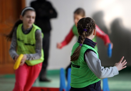 unidentified children on IAAF Kid's Athletics competition on February 10, 2012 in Donetsk, Ukraine