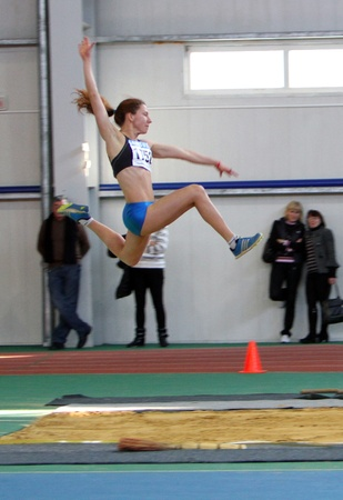 sumy: Fedik Ina - on the triple jump during the Ukrainian Track and Field Championships on February 17, 2012 in Sumy, Ukraine