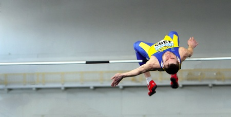 sumy: Shapoval Viktor wins high jump with 2 23 during the Ukainian Track and Field Championships on February 17, 2012 in Sumy, Ukraine Editorial
