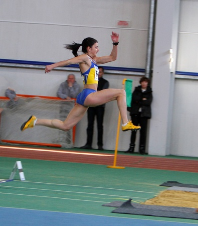 Tsykhotska Ruslana - on the start of triple jump during the Ukrainian Track and Field Championships on February 17, 2012 in Sumy, Ukraine