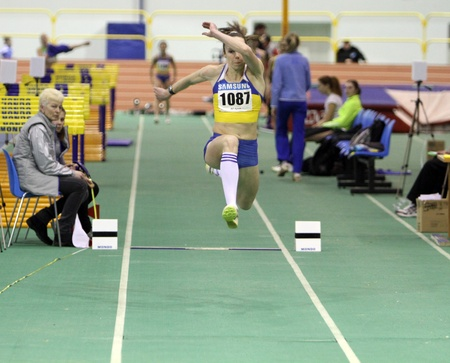sumy: Iastrebova Natalia - on the triple jump during the Ukrainian Track and Field Championships on February 17, 2012 in Sumy, Ukraine Editorial