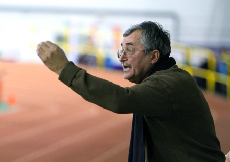 sumy: Unidentified coach at the Ukrainian Track and Field Championships on February 17, 2012 in Sumy, Ukraine