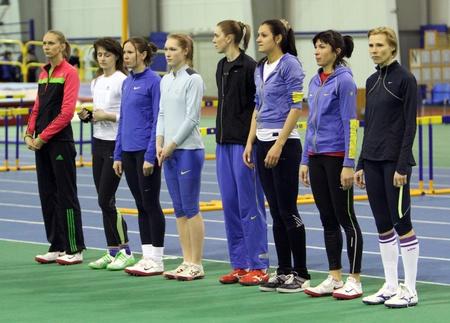 sumy: Unidentified women at the start on Ukrainian Track   Field Championships on February 17, 2012 in Sumy, Ukraine