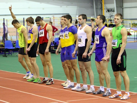 sumy: Unidentified men at the start of the 1,000 meters dash on Ukrainian Track   Field Championships on February 17, 2012 in Sumy, Ukraine