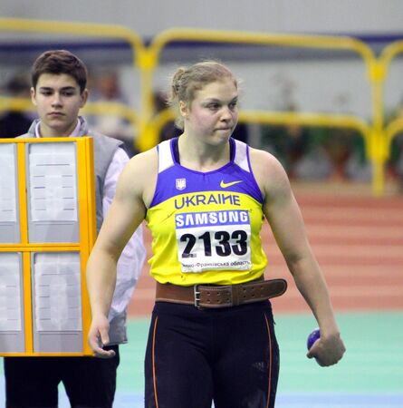 sumy: Obleshuk Galina - winner in shot put with 18 02 on the Ukrainian Track and Field Championships on February 17, 2012 in Sumy, Ukraine