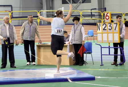 sumy: Golodna Olga wins second place in shot put on the Ukrainian Track and Field Championships on February 17, 2012 in Sumy, Ukraine