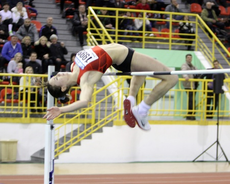 sumy: Oksana Okuneva competes in the high jump competition during the Ukrainian Track and Field Championships on February 17, 2012 in Sumy, Ukraine