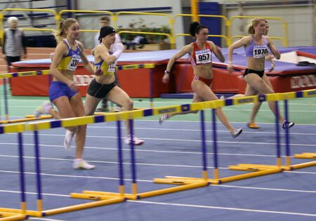 Unidentified women on the Ukainian T   F Championships on February 17, 2012 in Sumy, Ukraine  Stock Photo - 12848605
