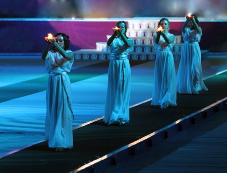 Opening Ceremony of the Samsung Pole Vault Stars meeting on February 11, 2012 in Donetsk, Ukraine Stock Photo - 12848618