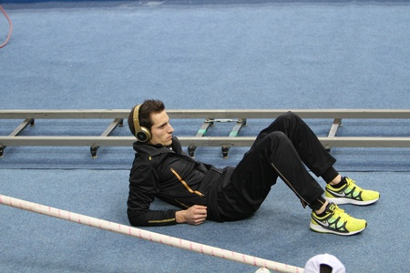 DONETSK,UKRAINE-FEB 11  Lavillenie Renaud wins men s competition with the result 5 82 on Samsung Pole Vault Stars meeting on February 11, 2012 in Donetsk, Ukraine  He won gold at 2009 European Champ