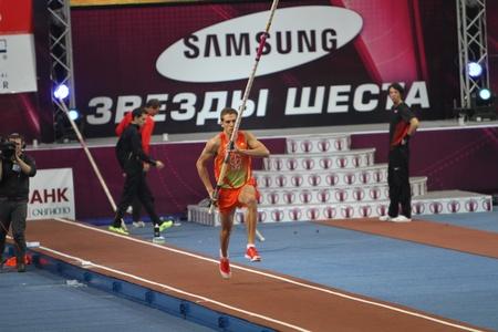 DONETSK, UKRAINE - FEB 11  Dilla Karsten competes in the Samsung Pole Vault Stars meeting on February 11, 2012 in Donetsk, Ukraine  He won bronze medal at 2008 in the World Junior Championships  Stock Photo - 12848623