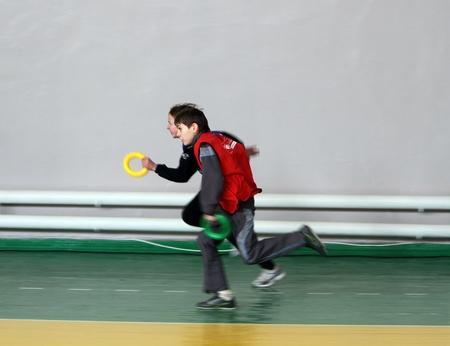 unidentified children on IAAF Kid's Athletics competition on February 10, 2012 in Donetsk, Ukraine  Stock Photo - 12848647