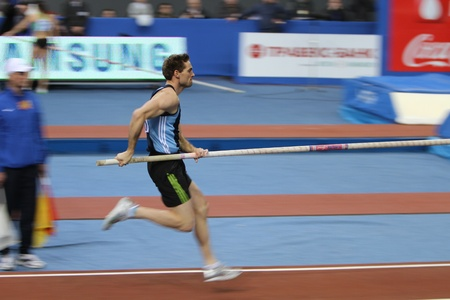 DONETSK,UKRAINE-FEB 11  Otto Bj�rn wins second place in men s competition with the result 5 82 on Samsung Pole Vault Stars meeting on February 11, 2012 in Donetsk, Ukraine   Stock Photo - 12848657