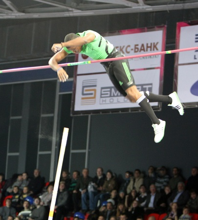 DONETSK, UKRAINE - FEB 11  Borges Lazaro on Samsung Pole Vault Stars meeting on February 11, 2012 in Donetsk, Ukraine   Stock Photo - 12848648