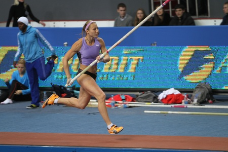 samsung: Ptacnikova Irina - czech pole vaulter, wins first place with Nation Rekord 4 70 on Samsung Pole Vault Stars meeting on February 11, 2012 in Donetsk, Ukraine Editorial
