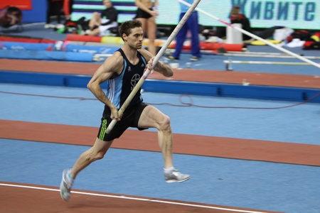 DONETSK,UKRAINE-FEB 11  Otto Bj�rn wins second place in men s competition with the result 5 82 on Samsung Pole Vault Stars meeting on February 11, 2012 in Donetsk, Ukraine   Stock Photo - 12848686