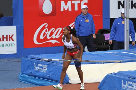 DONETSK, UKRAINE-FEB 11  Yarisley Silva - Cuban pole vaulter wins second place in the pole vault competition on Samsung Pole Vault Stars meeting on February 11, 2012 in Donetsk, Ukraine