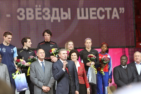 DONETSK, UKRAINE - FEB 11  Closing Ceremony of the Samsung Pole Vault Stars meeting on February 11, 2012 in Donetsk, Ukraine   Stock Photo - 12848727
