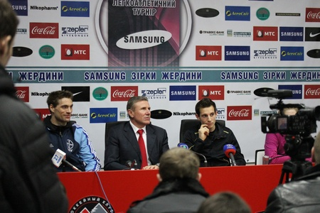 DONETSK, UKRAINE - FEB 11     L-R   Otto Bjern, Segei Bubka, Lavillenie Renaud on the press conference after Samsung Pole Vault Stars meeting on February 11, 2012 in Donetsk, Ukraine