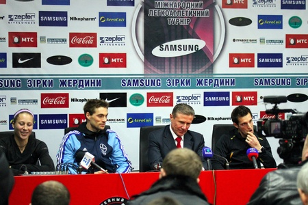 DONETSK, UKRAINE - FEB 11   L-R  Ptacnikova Jirina, Otto Bjern, Segei Bubka, Lavillenie Renaud on the press conference after Samsung Pole Vault Stars meeting on February 11, 2012 in Donetsk, Ukraine
