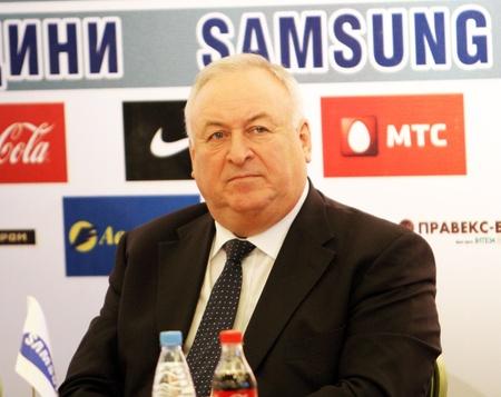 DONETSK, UKRAINE - FEB  10   Valery Borzov - Double Olympic champion on the press conference before Samsung Pole Vault Stars meeting on February 10, 2012 in Donetsk, Ukraine   Stock Photo - 12848691