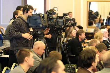 samsung: mass media on the press conference before Samsung Pole Vault Stars meeting on February 10, 2012 in Donetsk, Ukraine