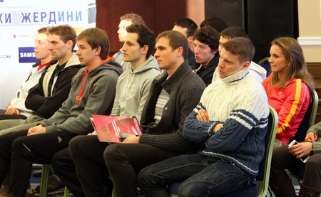 DONETSK, UKRAINE - FEB  10   L-R  Michalski Lukasz, Otto Bj�rn, Starodubcev Dmitrii, Lavillenie Renaud, Maksim Mazurik, Denis Urchenko on the press conference on February 10, 2012 in Donetsk, Ukraine