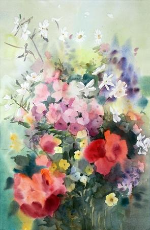 Peinture à l'aquarelle des belles fleurs. Banque d'images - 12846114