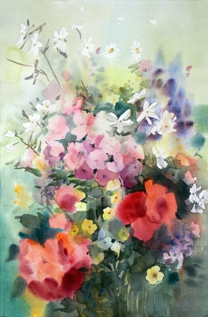 Watercolor painting of the beautiful flowers. photo