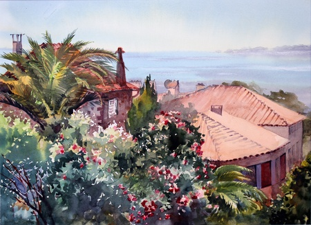 french culture: Watercolor painting of the building in St  Tropez, Cote d Azur, France