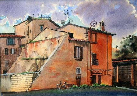 トラステヴェレ, ローマの典型的な地区の都市景観 写真素材