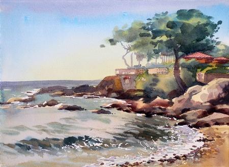 paisaje mediterraneo: Pintura de la acuarela del edificio en St Tropez, Costa Azul, Francia