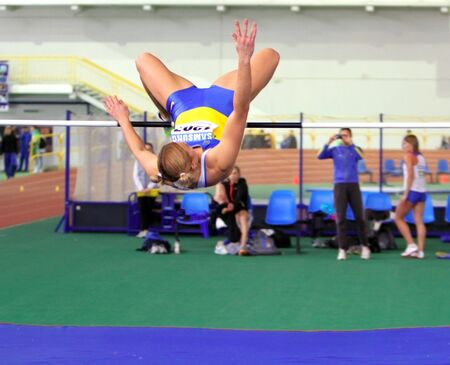 sumy: SUMY, UKRAINE - FEB 16: Dobrynska Natallia, Olympic Champion in Beijing, wins the Pentathlon with National Record 4880 p. on Ukainian Track, Field Championships on February 16, 2012 in Sumy, Ukraine. Editorial