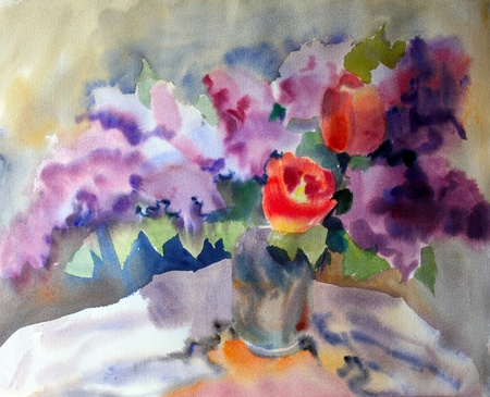 made: Watercolor painting of the beautiful flowers