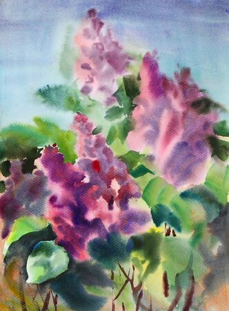 Watercolor painting of the beautiful flowers photo