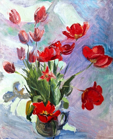 Oil painting of the beautiful flowers photo