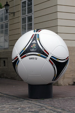 LVIV, UKRAINE - MAY 09: tango 12, the official matchball of EURO2012 POLAND - UKRAINE, in the main square of Lviv on May 09, 2012 in Lviv, Ukraine. Lviv will host EURO 2012 Football championships.