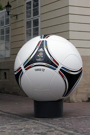 LVIV, UKRAINE - MAY 09: tango 12, the official matchball of EURO2012 POLAND - UKRAINE, in the main square of Lviv on May 09, 2012 in Lviv, Ukraine. Lviv will host EURO 2012 Football championships. Stock Photo - 13558963