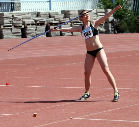YALTA, UKRAINE - APRIL 26  Sytchik Ylia compete in the javelin throw competition for girls age 16-17 on Ukrainian Junior Track and Field Championships on April 26, 2012 in Yalta, Ukraine
