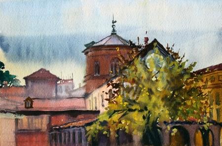 수채화로 그린 로마의 풍경.