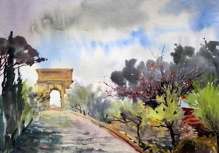 천골과 아치 티토를 통해와 로마의 도시 풍경은 수채화로 그린.