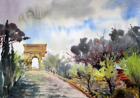 vatican city: Roman cityscape with via Sacra and Arch Tito painted by watercolor.