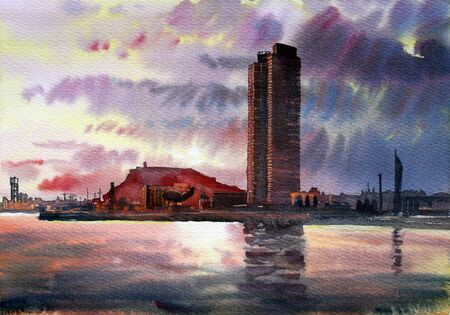 barcelona spain: Barcelona cityscape painted by watercolor .