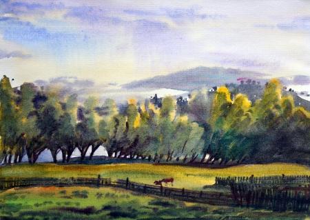 Paisaje de montaña pintado por la acuarela Foto de archivo - 13615819