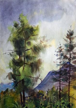 romantic: Mountain landscape painted by watercolor