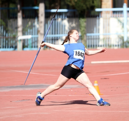YALTA, UKRAINE - APRIL 25  Mosiichuk Uliana compete in the javelin throw competition for girls age 16-17 on Ukrainian Junior Track and Field Championships on April 25, 2012 in Yalta, Ukraine