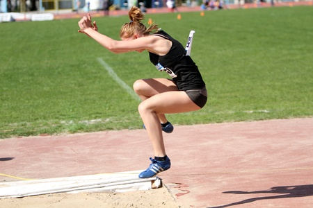 On the long jump competition for girls age 16-17 on Ukrainian Junior Track and Field Championships on April 25, 2012 in Yalta, Ukraine