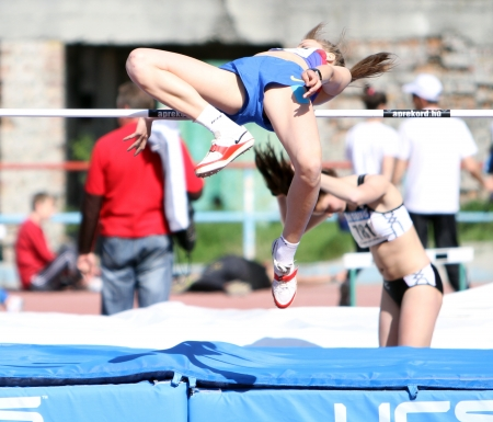 YALTA, UKRAINE - APRIL 25  Ladiga Olga compete in the high jump competition for girls age 16-17 on Ukrainian Junior Track and Field Championships on April 25, 2012 in Yalta, Ukraine