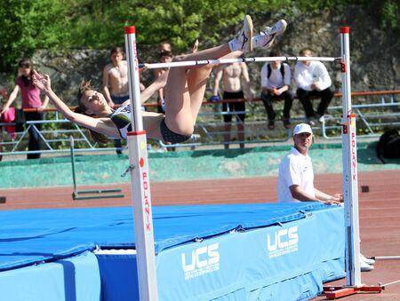 YALTA, UKRAINE - APRIL 25  Irina Gerashenko compete in the high jump competition for girls age 16-17 on Ukrainian Junior Track and Field Championships on April 25, 2012 in Yalta, Ukraine